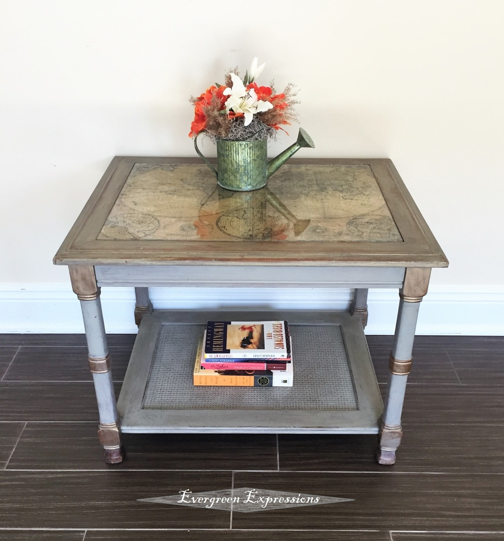 Enjoyable Map End Table Night Table Evergreen Expressions Home Remodeling Inspirations Propsscottssportslandcom